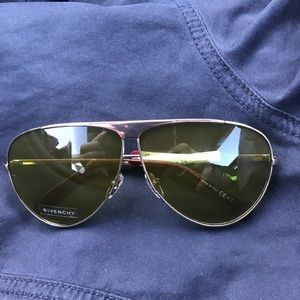 Givenchy Gold Metal w Green Lens Aviator NWT